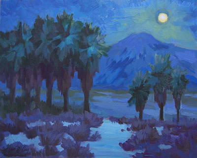 Moonlight Painting - Moonlight Thousand Palms by Diane McClary