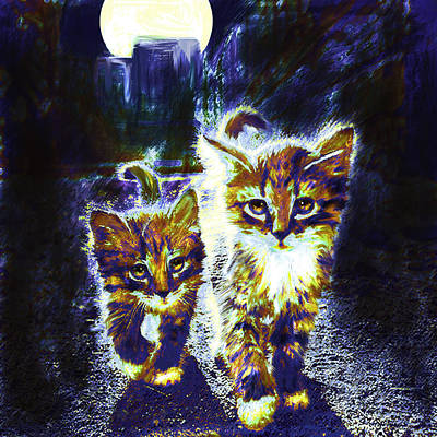 Kittens Digital Art - Moonlight Travelers by Jane Schnetlage