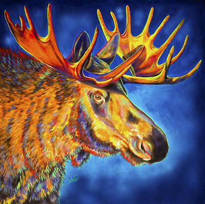 Abstract Wildlife Painting - Moose Blues by Teshia Art