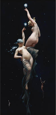 Luis Ricardo Falero Painting - Moonlit Beauties by Luis Ricardo Falero