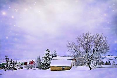 Surreal Barns Photograph - Moonlit Farm by Theresa Tahara