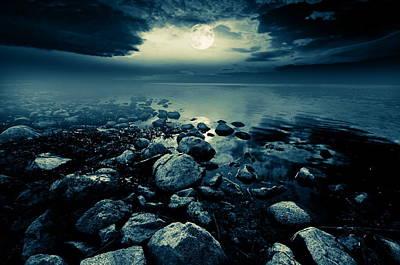 Lunar Digital Art - Moonlit Lake by Jaroslaw Grudzinski