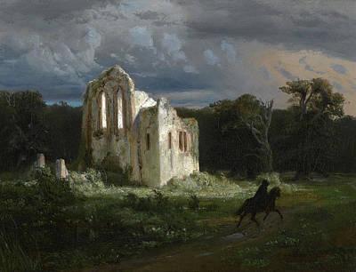 Arnold Boecklin Painting - Moonlit Landscape by Arnold Boecklin