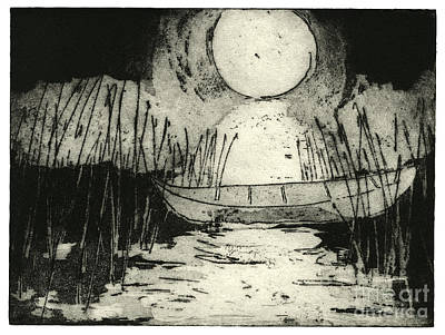 Moonlit Night Drawing - Moonlit Night - Full Moon - Reeds - Among The Reeds - Canoe - Etching - Fine Art Print - Stock Image by Urft Valley Art