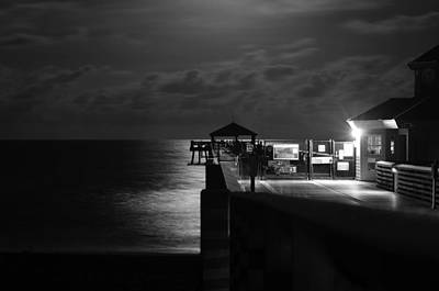 Moonlit Pier Black And White Print by Laura Fasulo
