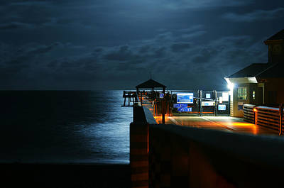 Moonlit Pier Print by Laura Fasulo
