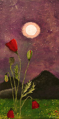 Poppies Painting - Moonlit Poppies by Rebecca Pickrel
