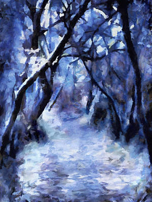 Abstract Painting - Moonlit Winter Woodpath by Menega Sabidussi