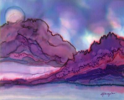 Fiber Art Painting - Moonrise by Deborah Younglao