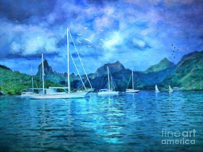 Moonrise In Mo'orea Print by Lianne Schneider