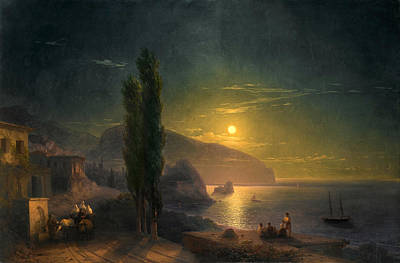 Aivazovsky Painting - Moonrise Over Ayu Dag by Ivan Konstantinovich Aivazovsky