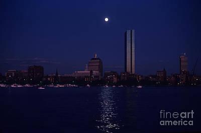 Moonrise Over Boston Skyline July 1982 Print by Thomas Marchessault