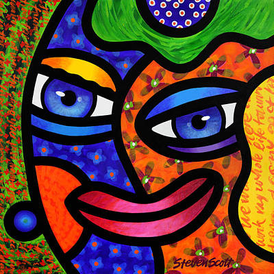 Abstract Faces Painting - Moonrise by Steven Scott