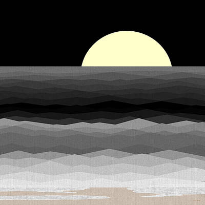 Moonrise Surf Print by Val Arie