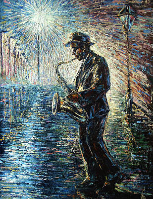 New Orleans Oil Painting - Moonwalk Solo by Natasha  Mylius