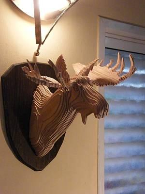 Wall Mounting Sculpture - Moose Head by Motti Inbar