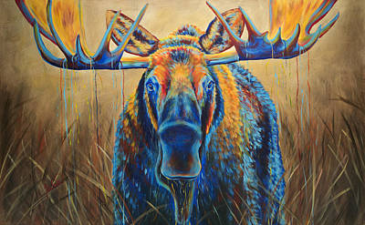 Blue Painting - Moose Marsh by Teshia Art