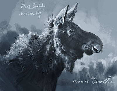 Moose Sketch Print by Aaron Blaise