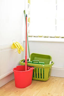 Routine Photograph - Mop And Bucket by Tom Gowanlock