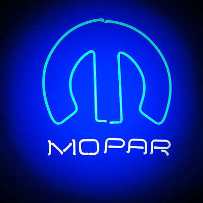 American Muscle Car Print featuring the photograph Mopar Neon Sign by Jill Reger