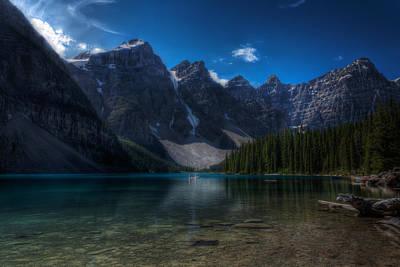 Mountain Reflection Lake Summit Mirror Photograph - Moraine Lake by Matt Dobson