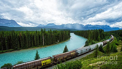 Calgary Photograph - Morant's Curve Bow Valley Banff National Park Canada by Edward Fielding