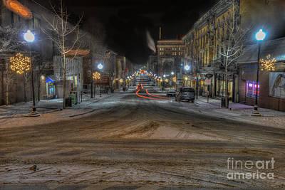 Morgantown High Street On Cold Snowy Night  Print by Dan Friend