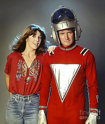 Robin Mixed Media - Mork And Mindy by Marvin Blaine
