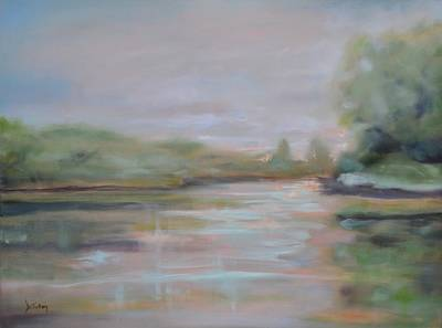 River Painting - Morning At The Lake by Donna Tuten