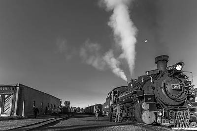Distant Moon At Train Yard Print by Robert Frederick