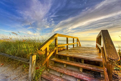 Spring Scenes Photograph - Morning Beach Walk by Debra and Dave Vanderlaan