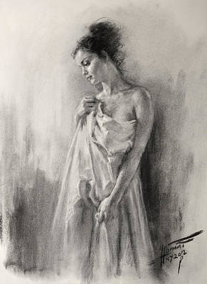 Young Girl Nude Drawing - Morning Beauty  by Ylli Haruni