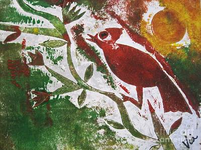 Collagraph Relief - Morning Birdsong by Judy Via-Wolff