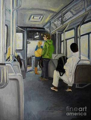 Quebec Art Painting - Morning Bus by Reb Frost