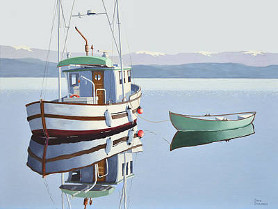 Morning Calm-fishing Boat With Skiff Print by Gary Giacomelli