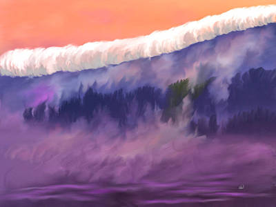Layered Digital Painting - Morning Drive To Half Moon Bay by Angela A Stanton