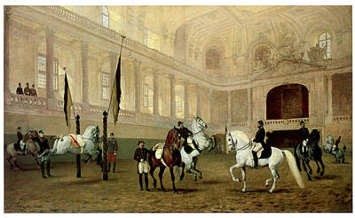 Morning Exercise In The Winter Riding School Print by Julius von Blass
