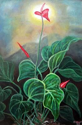 Jamaican Art Painting - Morning Glory 1 by Ewan  McAnuff