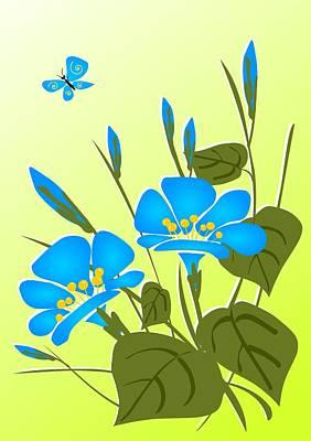 Floral Digital Art - Morning Glory by Anastasiya Malakhova