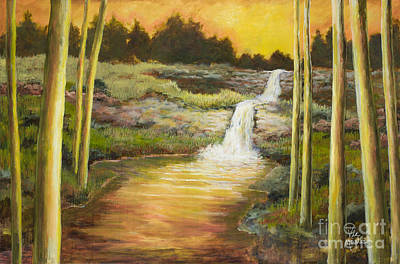 Morning Glow By Vic Mastis With Oil And Gold Leaf Print by Vic  Mastis