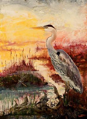 Heron Mixed Media - Morning Has Broken by Sherry Shipley