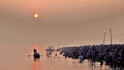 Morning Haze On The Ganges - Kumbhla Mela - India Print by Kim Bemis