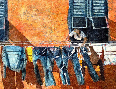 Laundry Painting - Morning In Monterosso  by Diane Fujimoto
