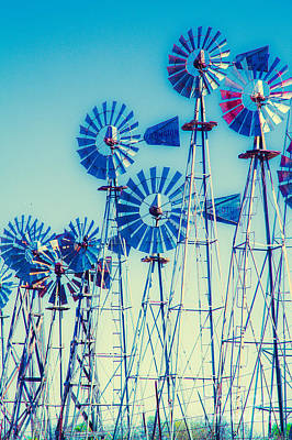 Abstract Windmill Photograph - Morning Light On  The Blue Windmills by Iris Greenwell