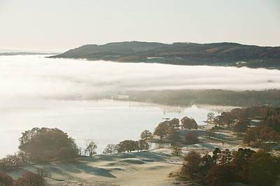 Morning Mist Over Lake Windermere Print by Ashley Cooper