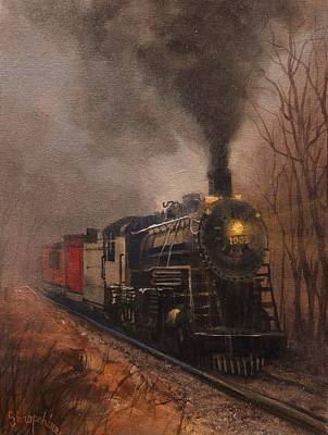 Railroad Painting - Morning Mist Soo Line 1003 by Tom Shropshire