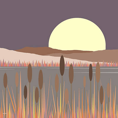 Minimalist Landscape Digital Art - Morning Moon by Val Arie