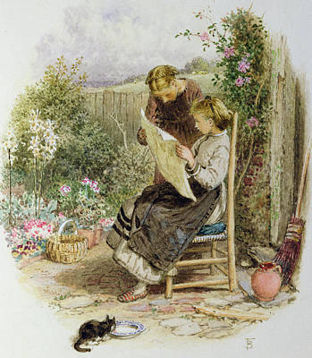 Of Cat Painting - Morning News by Myles Birket Foster