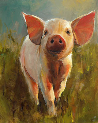 Piglets Painting - Morning Pig by Cari Humphry