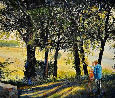Morning Plein-air In Southern France Print by Robert W Cook